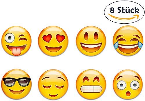 Hannoversand 8 Emoji Kühlschrankmagnete im Set, starker Halt an Kühlschrank, Magnettafel und Whiteboards, ø 40mm Deko Magnete