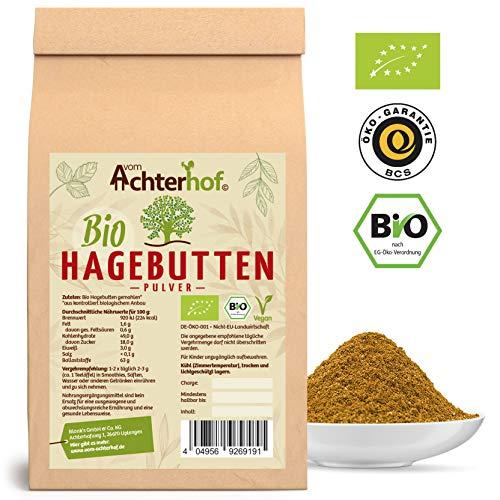 Bio Hagebuttenpulver (1kg)   ganze Hagebutte gemahlen   100% ECHTES Bio Hagebutten Pulver in Rohkostqualität
