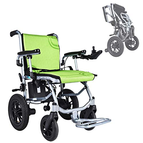 HHDQ Foldable Electric Wheelchair, Dual Powerful Motor Power Wheelchair, Dual Joystick Intelligent Automatic Brake Portable Comfortable Shock Absorption Only 14KG(30.8LBS), Support 100KG(220LBS)