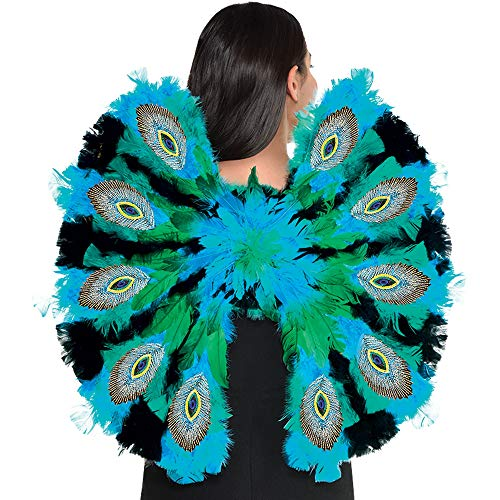 """Party City Peacock Feather Wings Halloween Costume Accessory for Teens and Adults, Blue, Green and Black, 23"""" x 22"""""""