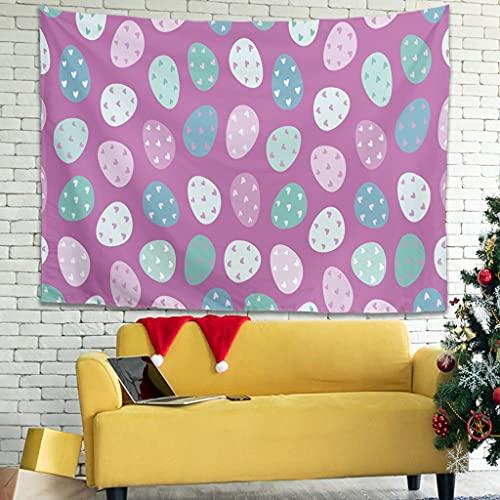 WellWellWell Tapiz de pared con forma de huevos de Pascua felices, multicolor, para cortina blanca, 150 x 130 cm