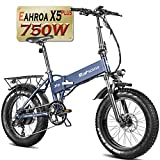 Eahora X5Plus 750W Electric Bike for Adults 10.4Ah Lithium Battery Hydraulic Disc Brake 8 Speed System Aluminum Alloy Cranksets Thumb Throttle for Commuting Beach Snow Mud Long Distance Travel