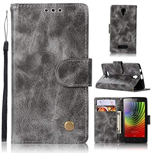 RONGCHAO Tasche für Mobiltelefon for Lenovo A2010 Retro Kupfer Knopf Crazy Horse Horizontal Flip PU-Leder-Kasten mit Halter und Card Slots und Wallet und Lanyard (weinrot) Shell Cover (Farbe : Gray)