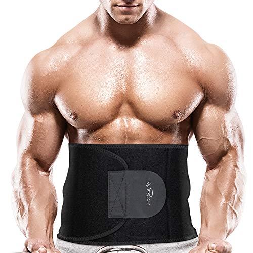 Starrum Sweat Slim Belt for Jogging,Back Support,Body Shaper Exercise for Men and Women (Black)