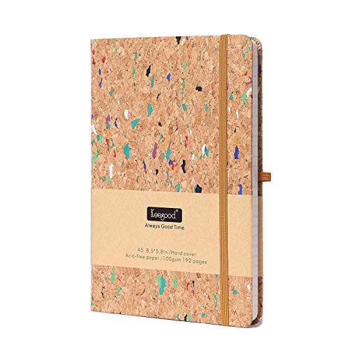 Notebooks and Journals, A5 Ruled Journal, Writing Journal with Pen loop, Thick Paper Journal, Hard Cover Notebook with Paper Pocket , 8.5x 5.8IN,Wood Color, Premium Thick 192 Pages for School Season