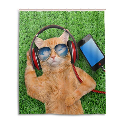 CLSNMSNHEBG Cortina de ducha con ganchos de 152 x 182 cm, diseño de gato con gafas de sol relajantes, decoración del hogar, poliéster impermeable para baño