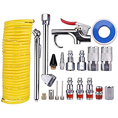 WYNNsky Air Compressor Accessory Kit, 1/4  NPT Air Tool Kit w/1/4 x25Ft Coil Nylon Hose/Blow Gun/Tire Gauge - 20 Piece