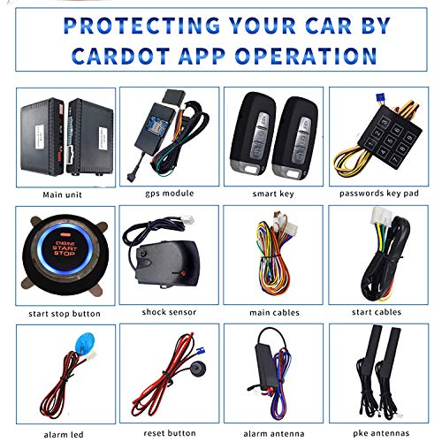 KUNFINE GPS Smart Security Car Alarm Passive Keyless Entry Auto Central Lock Push Button Remote Car Engine Start Stop iOS Android for 688XD