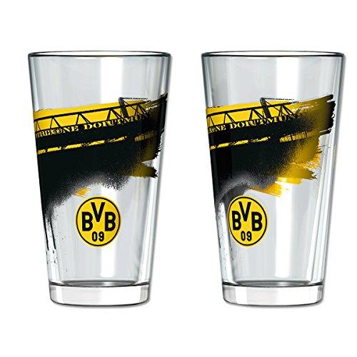 Borussia Dortmund Wasserglas / Glas Skyline 2er Set BVB 09 - plus gratis Aufkleber forever Dortmund