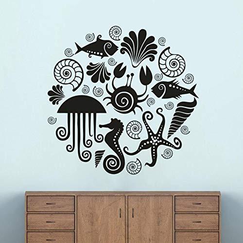 ASFGA Combinación de Vida Marina Moderna Pegatina de Vinilo Pegatina de Pared Pegatina de Concha de Estrella de mar Sala de Estar Comedor Aula baño decoración Animal Mural 126x123cm