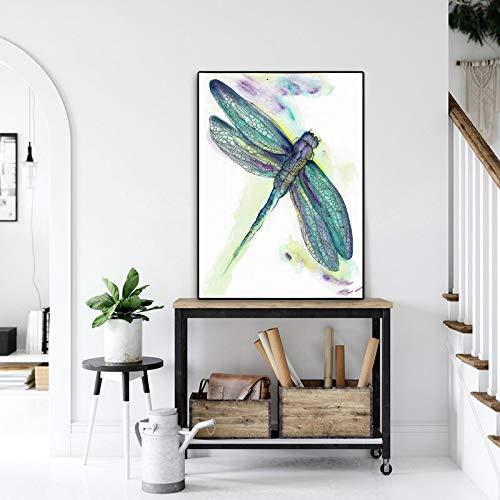 wZUN Carteles e Impresiones Pintura de Acuarela libélula Pintura en Lienzo imágenes de Animales decoración de la Sala Pintura Arte de la Pared 60x80 Sin Marco