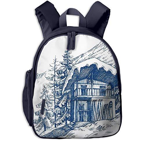 Kinderrucksack Skifahren Snowboarden Mountain Chalet Piste Powder, Schulrucksack Für Mädchen Und Jungen Schultasche Schulranzen Teenager Backpack Daypack Freizeitrucksack Kinder Rucksack