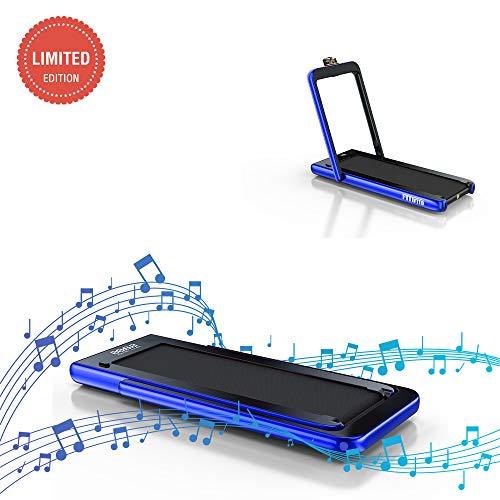 Fitifito ST100 Edles Laufband Profilaufband 1.0-12 km/h - Bluetooth - Fernbedienung komplett klappbar und verstaubar - Handy-/Tablethalter Blau*
