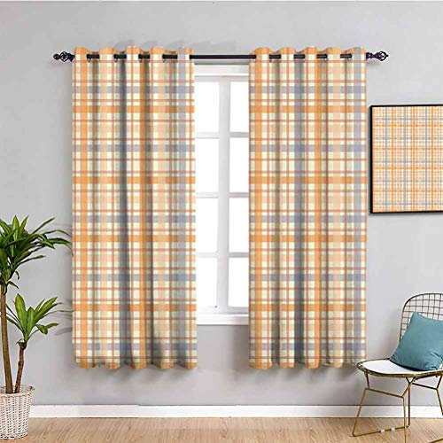 Retro Black Out Curtain Panels for Bedroom Classic Celtic Plaid Pattern Squares Stripes Geometric Traditional Tile Daily use Orange Peach Light Blue W63 x L63 Inch