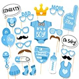 It's A Boy Baby Shower Photo Booth Props - 25 Count DIY Kit On Sticks Set