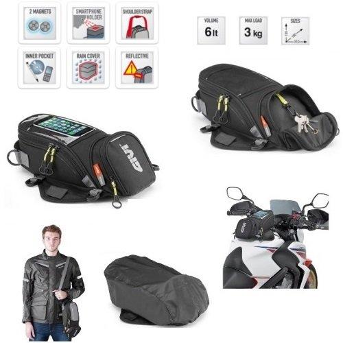 KAWASAKI VERSYS 650 2010-2019 rugzak GIVI EA106B 6 LT voor motorfiets universeel met magneten en inzetstukken, 130 x 160 x 310 mm