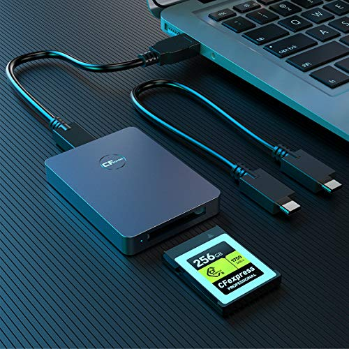 CFexpress Card Reader, Rocketek USB 3.1 Gen 2 10Gbps CFexpress Reader, Portable Aluminum CFexpress Memory Card Adapter Thunderbolt 3 Port Connection Support Android/Windows/Mac OS