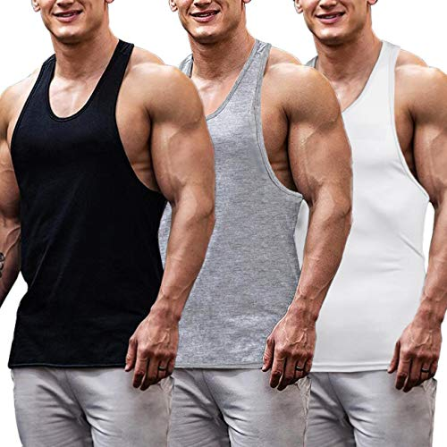 COOFANDY Men's 3 Pack Gym Tank Tops Y-Back Workout Muscle Tee Fitness Bodybuilding T Shirts