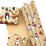 RUSPEPA Foglio Di Carta Da Regalo Natalizio Kraft - Elementi A Tema Babbo Natale - Collezione Di Elementi Natalizi - 6 Fogli Confezionati Come 1 Rotolo - 44,5 X 76 cm Per Foglio