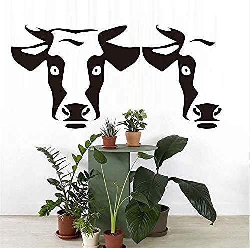 Muurstickers Art Decal Vinyl Murals 43 X 87 cm DIY Hollow Out voor Woonkamer Verwijderbare Waterdichte Twee Koeien Behang Thuis