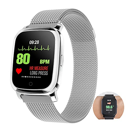 BNMY Smartwatch con Medidor De Temperatura Corporal, Reloj Inteligente Medidor De Frecuencia Cardíaca Medidor De Presión del Tiempo Contador De Calorías Podómetro para Hombre Y Mujer,Plata