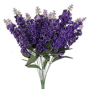 HO2NLE 2 Pcs Artificial Wisteria Bundle Fake Flowers Purple 15.4 inch Silk Bouquet Flowers Arrangements Home Garden Fences Restrant Hotel Parties Wedding Simulation Decor Faux Flowers Outdoor Indoor