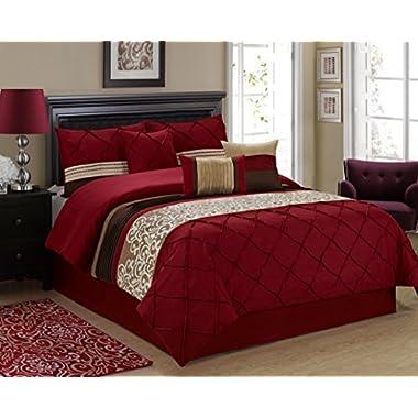 7 Piece ADABELLE Diamond Pintuck & Embroidery Comforter Set- Queen King (Queen, Burgundy)