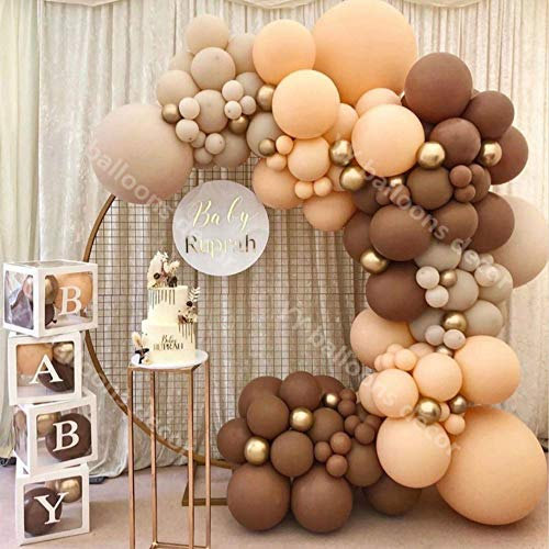 N/F Latex Retro Kaffee Haut DIY Luftballons Girlande Bogen Metall Gold Globos Geburtstag Hochzeit Baby Shower Jubiläum Party Dekorationen