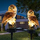 Garden Solar Lights Outdoor Decorative 2pices Animals Resin Owl Solar LED Lights Waterproof Lighting for Flower Fence, Lawn, Patio, Walkway, Summer Party, Christmas,Holiday Gifts Decortions