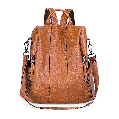 Women Anti-theft Backpack,SUVOM School Genuine leather Bag as Ladies Fashion Backpack Purse for School Waterproof Girls Stylish Rucksack,Cute Shoulder Bag Lightweight Brown