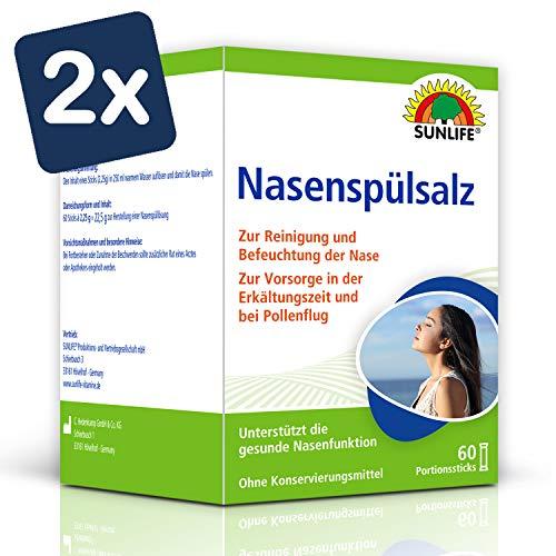 SUNLIFE Nasenspülsalz: Nasenspülung zur Reinigung verstopfter Nase, 60 Sticks à 2,25g - 2er Pack