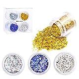 MELLIEX 4 Boxen Glitzer für Gesicht, Nagel Glitzerpulver Glitter Pailletten für Make Up, Nagelkunst, Gesicht Körper, Haare, Basteln DIY