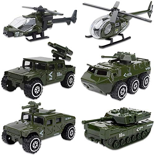 Shellvcase Diecast Military Vehicles, 6 Pack Army Toys Assorted Alloy Metal Model Cars Tank,Panzer,Anti-Air Vehicle,Helicopter Playset Gifts for Boys Kids Toddlers