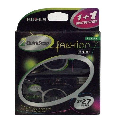 Fujifilm Quicksnap Fashion - Cámara desechable con Flash (400 ISO, 27 exposiciones, 1 Unidad de Regalo, baterías AA, 15 x 12,2 x 4 cm), Color Negro (Importado)