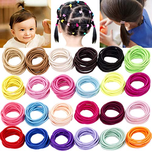 JOYOYO Baby Hair Ties for Kids Toddlers 240 PCS 24 Colors 2.5mm No Crease Solid Color Small Rubber Bands Ponytail Holders