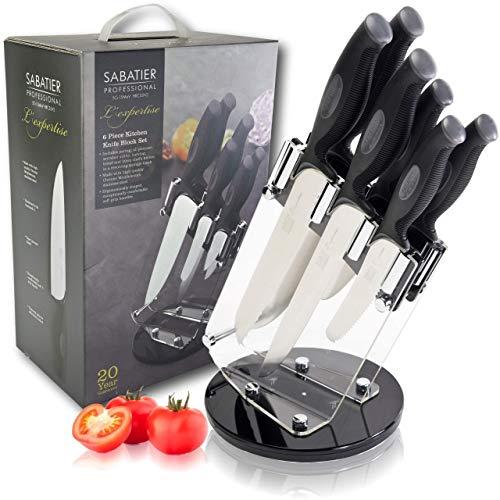 Sabatier Professional L'Expertise Lot de 6 couteaux tournants en acier inoxydable chromé de haute qualité, lames tranchantes et tranchantes, poignées souples et ergonomiques.