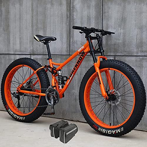 JieDianKeJi Fat Tire Herren Mountainbikes, 4.0 Super Wide Tire 26 Zoll 27-Gang Doppelscheibenbremse Snowbike, Federgabel High Carbon Carbon Frame Sand Bike