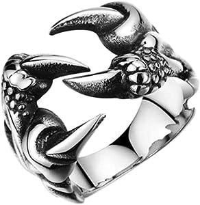 YOFEEL Fashion Creative Stainless Steel Dragon Claw Ring Ladies Men's Titanium Steel Ring Retro Punk Style Men's