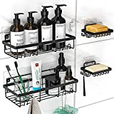 MOFOROCO Shower Caddy Shelf Organizer (2Pack) with 2 Soap Dishes, Adhesive Black Bathroom Basket Shelves with Hooks, No Drilling Wall Mount Shower Storage Accessories, Rustproof Stainless Steel
