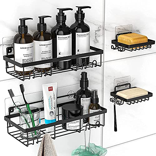 MOFOROCO Shower Caddy Shelf Organizer (2Pack) with 2 Soap Dishes, Adhesive Black Bathroom Basket Shelves with Hooks, No Drilling Wall Mount Shower...