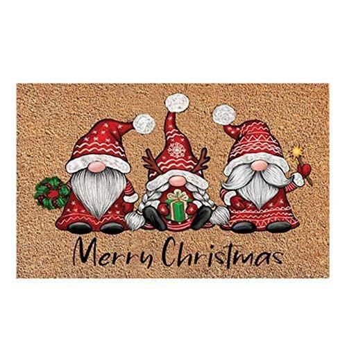 Decorativo Navidad Alfombra, 40x60x0.7CM Alfombra Navideña, Felpudo de Navidad de Entrada, Hogar de Navidad Alfombras Antideslizantes para Puertas Alfombras de Pasillo (A) ⭐