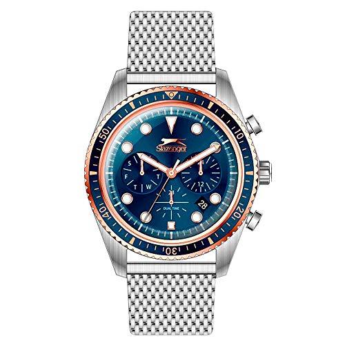 Slazenger Silbernes Mesh-Armband, blaues Zifferblatt, analoge Armbanduhr für Herren