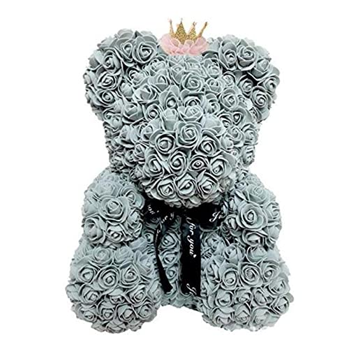 40Cm Foam Rose Bear With Box Rose Artificial Flower Gift For Girlfriends Mother And Mother'S Day Wife Valentine'S Day Gift Home Decor,Gray