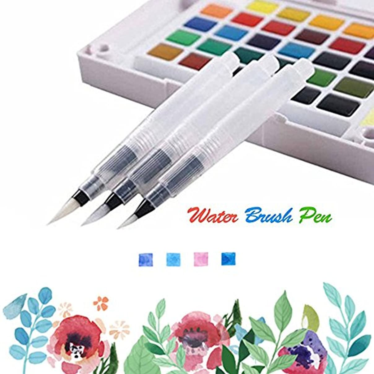 MAZU 3-Piece Leak Proof Water Coloring Brush Pen Set - Refillable, Watercolor, Calligraphy, Painting,Water-soluble Pencils,Arts Markers,Solid Colors or Powdered Pigment D-3 sphux908349