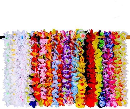 SIROD 36 Pieces Hawaiian Lei Flower Garlands Tropical Hawaiian Luau Flower for Hawaii Party Decorations Beach Theme Party