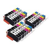 B-T Compatibile Cartucce d'inchiostro Sostituzione per Canon 525 526 PGI-525 CLI-526 XL per Canon PIXMA MG5150 MG5350 MG5250 IX6550 MX885 MX895 MX715 IP4950 IP4850 MG6150 (18 Pack)
