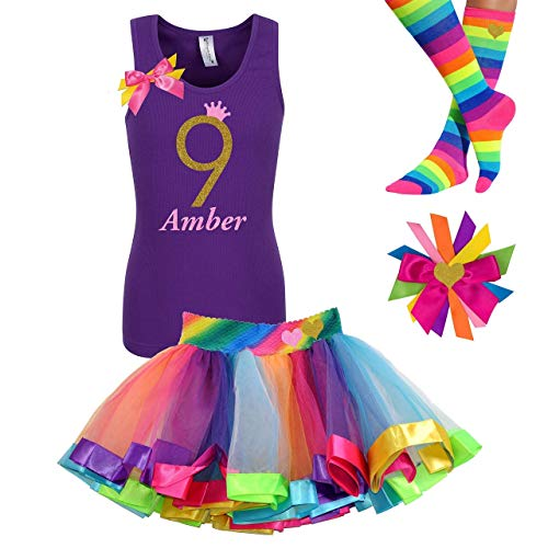 9th Birthday Girl Outfit Kids Rainbow Tutu Party Gift Set Gold Glitter 9 Purple Tank Top Shirt Personalized