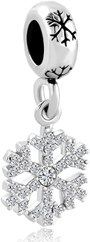 LovelyJewelry Snowflake Charms Synthetic Crystal Dangle Spacer Bead for Bracelets