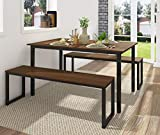 Homury 3 Piece Dining Table Set Breakfast Nook Dining Table with Two Benches