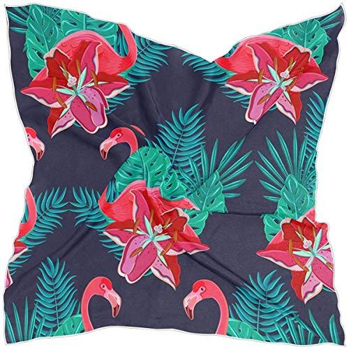 N/A Bufanda cuadrada para mujer, diseño de lirios de flamencos e hibisco tropical, hojas verdes de palma, sensación de seda, bufanda para el pelo envolvente